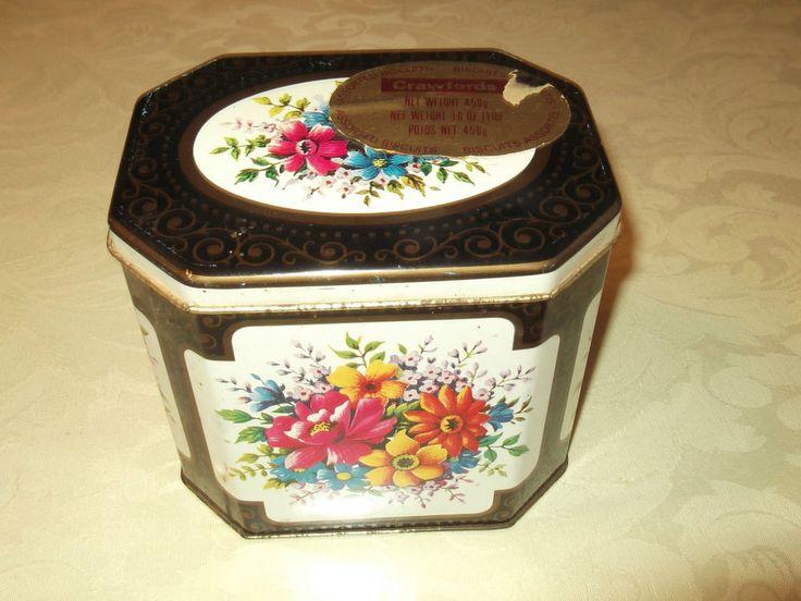 Vintage Crawfords biscuit tin - floral display