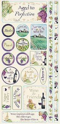 Reminisce WRATH OF GRAPES PHRASES Cardstock Sticker Sheet scrapbooking WINE