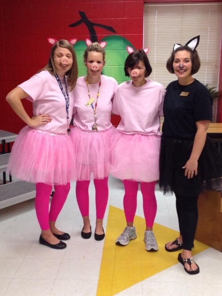 These easy storybook-inspired costumes are perfect for a kindergarten teaching team. To mix it up, adapt the costumes to dress up as the fractured fairy tale The True Story of the Three Little Pigs.