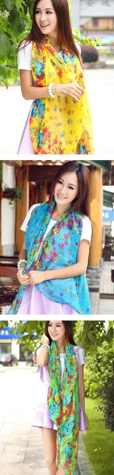 Floral Long Scarf Shawl 7 colour available FREE shipping worldwide only 7.99 usd