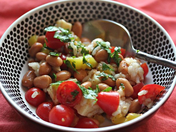 Summer Bean Salads: Pinto Beans With Rice, Tomatoes, Cheddar, and Two-Chili Vinaigrette
