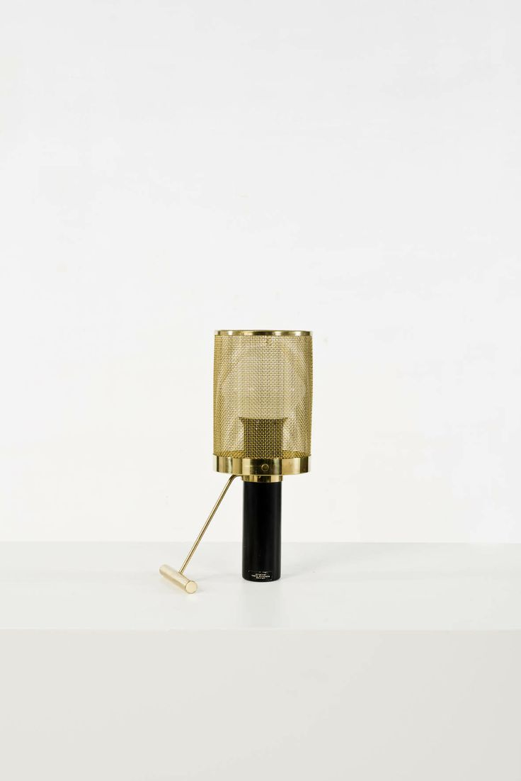 Tapio Wirkkala; #K11-81 Brass and Enameled Metal Table Lamp for Idman Oy, c1950.