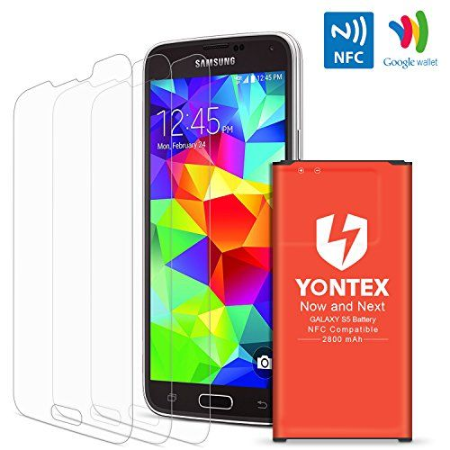 [NFC/Google Wallet Capable] S5 Battery , YONTEX 2800mAh Replacement Battery for Samsung Galaxy S5 and S5 Active [I9600,G870A, G900V, G900A, G900T, G900P] with 3 Pack [Tempered Glass] Screen Protector  https://topcellulardeals.com/product/nfcgoogle-wallet-capable-s5-battery-yontex-2800mah-replacement-battery-for-samsung-galaxy-s5-and-s5-active-i9600g870a-g900v-g900a-g900t-g900p-with-3-pack-tempered-glass-screen-protector/  FROM NOW ON, START YOUR WIRELESS LIFE: Built-in NFC an