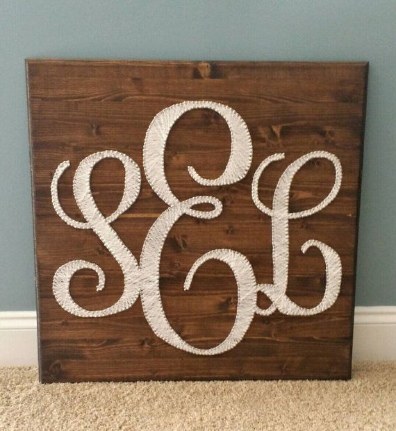"Initial Monogram String Art: 24""×24"" Stained Wood Plaque Featuring Your Initials in Elegant White https://www.etsy.com/listing/217892381/initial-monogram-string-art-24times24"