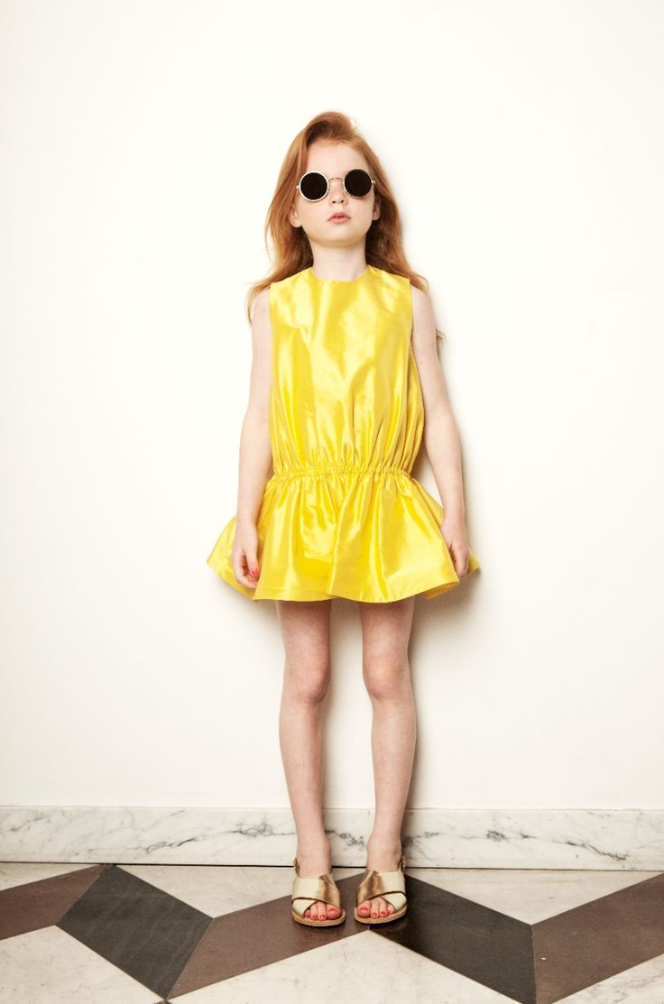 Brilliant yellow silk dress by My Little Dress Up for spring 2015 kids fashion