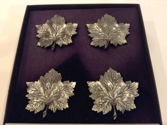Vintage The LS Collection Pewter Maple Leaf Napkin Rings 4