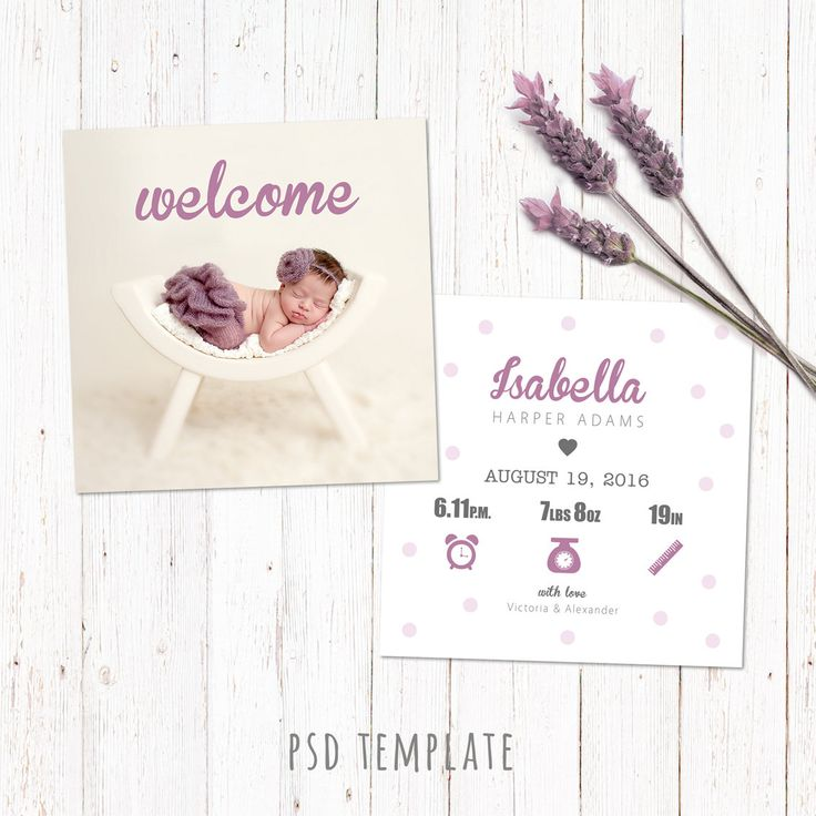 Birth announcement template card. Digital baby girl birth card. Fully editable photoshop PSD files for instant download. Size 5x5 inch. by PenguinGraphics on Etsy