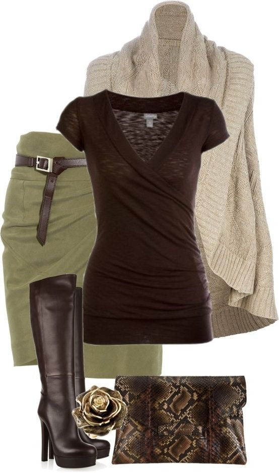Love the clutch, boots and cardigan.  Would rather pair with olive skinny pants rather than  skirt.
