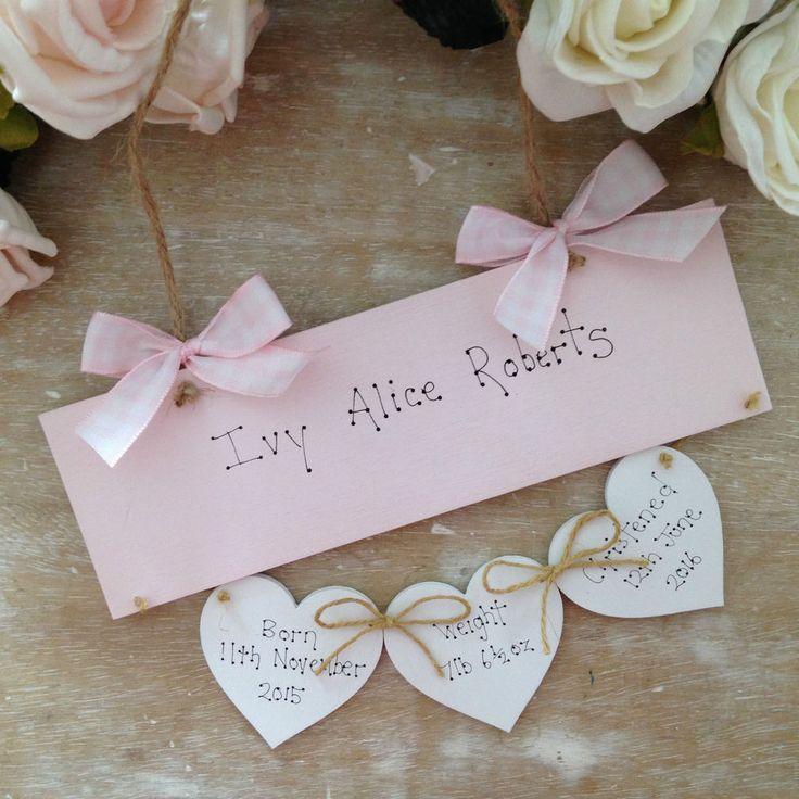 Shabby Chic Personalised Christening New Baby Gift Keepsake Sign Goddaughter