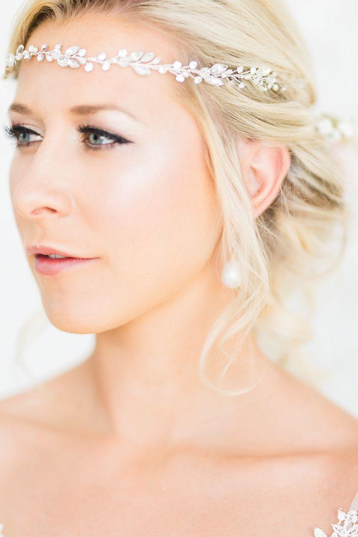 Gorgeous Bridal Makeup with a Crystal Flower Headpiece  https://heyweddinglady.com/mediterranean-citrus-inspired-destination-wedding/    #wedding #weddings #weddinginspiration #destinationwedding #realwedding #bohemianwedding #weddinghair #makeup