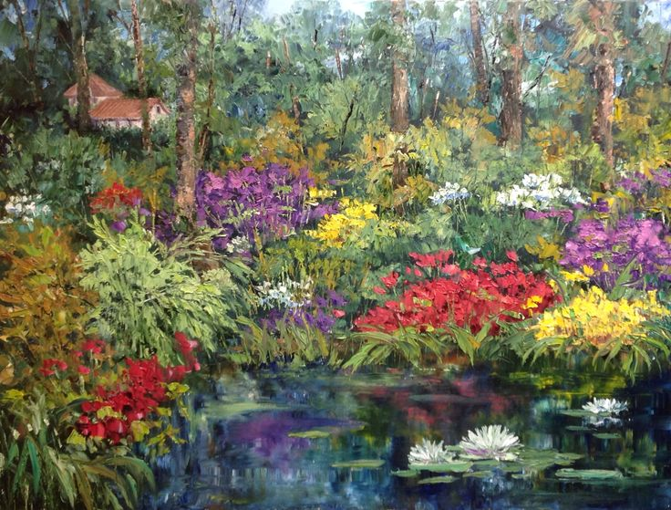 """Garden Paradise"", 2015;  J. Guess  Oil on Canvas 48""wide x 36""high  Available through Filsinger Fine Art,  Palm Desert, CA   www.filsingergallery.com"