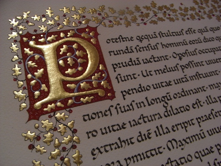 Calligrafia in Carolina minuscola con capolettera miniata - Italian Caroline minuscule with illuminated initial and border
