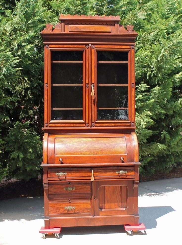Regal Victorian Walnut Amp Burl Cylinder Roll Secretary Desk