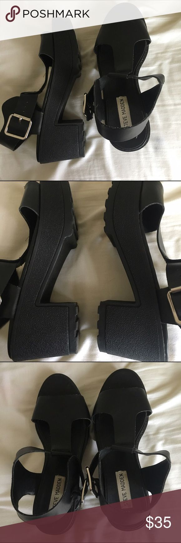 steve madden platform sandals beautiful and classy platform leather sandals by steve madden! really comfortable, never got blisters wearing them. all man made materials. size 8. platform is about one inch and the heel is about 3 Steve Madden Shoes Sandals