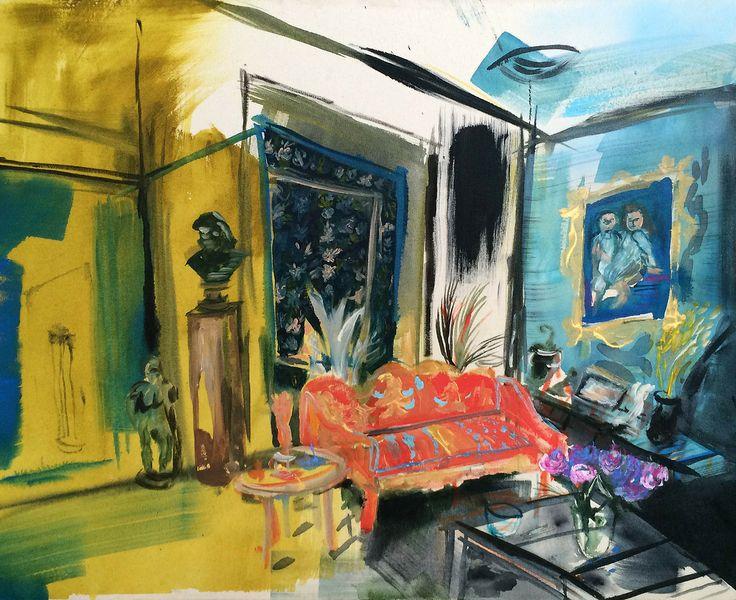 Karoliina Hellberg: Tumma interiööri, 2014, acrylics, oil and ink on canvas