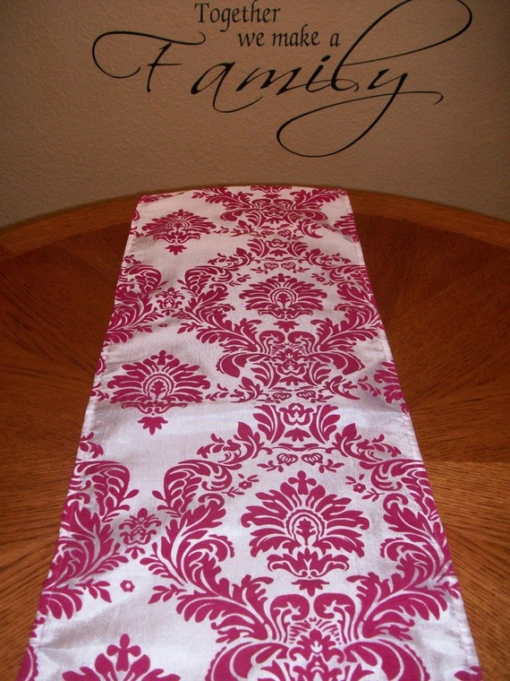 Items Similar To Damask Fuchsia Hot Pink Table Runner Various Sizes On Etsy