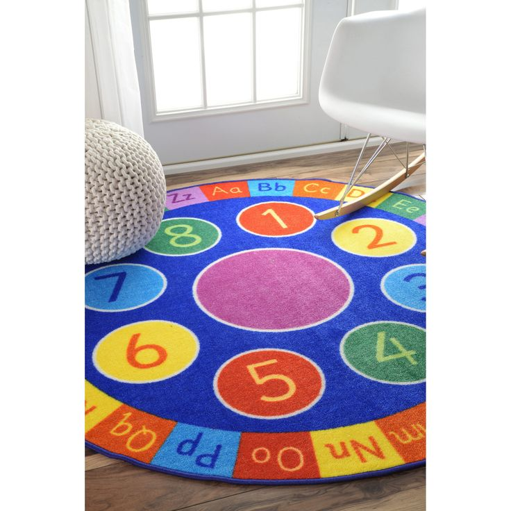 nuLOOM Contemporary Number Alphabet Circles Kids Rug