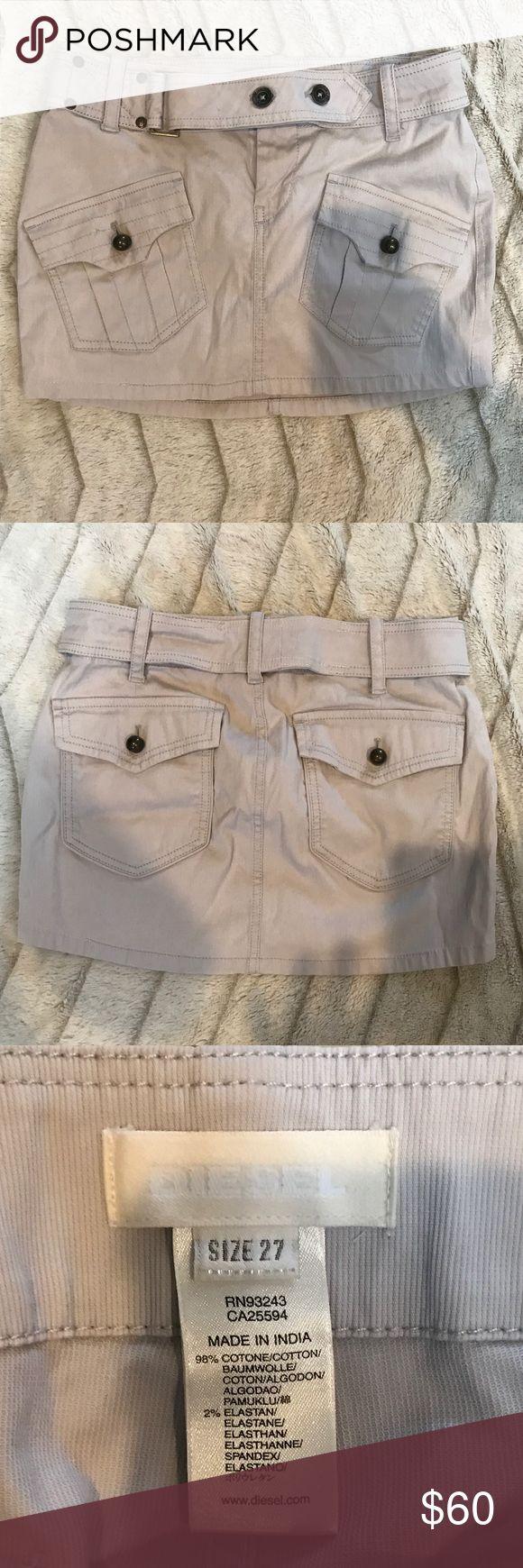 Diesel Cargo Mini Skirt For sale is a Diesel Cargo Mini Skirt in VGUC.  Color is a Taupe-ish grey (greige) size:27 Diesel Skirts Mini