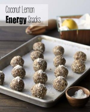 Lemon, chia seeds, almonds, dates, shredded coconut and coconut oil mix into snack balls that will give you energy and zest throughout the day.