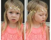 Gold leaf crown headband newborn infant toddler adult wedding flower girl gift