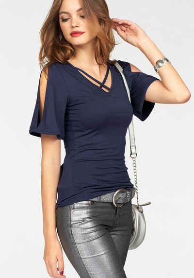 Melrose V-Shirt mit dekorativem Ausschnitt