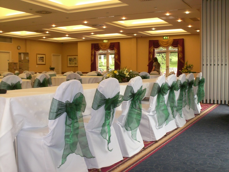 Dark Green Organza Bows on White Chair Covers