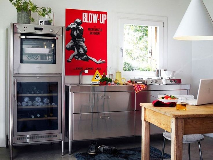 """Linear stainless steel kitchen CUCINA 190 """"BLOW UP"""" by ALPES-INOX"""