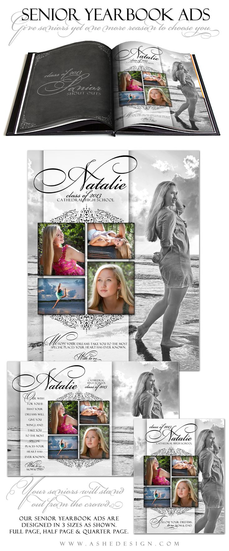 Senior Yearbook Ad Template Designs for Photographers - ashedesign.com