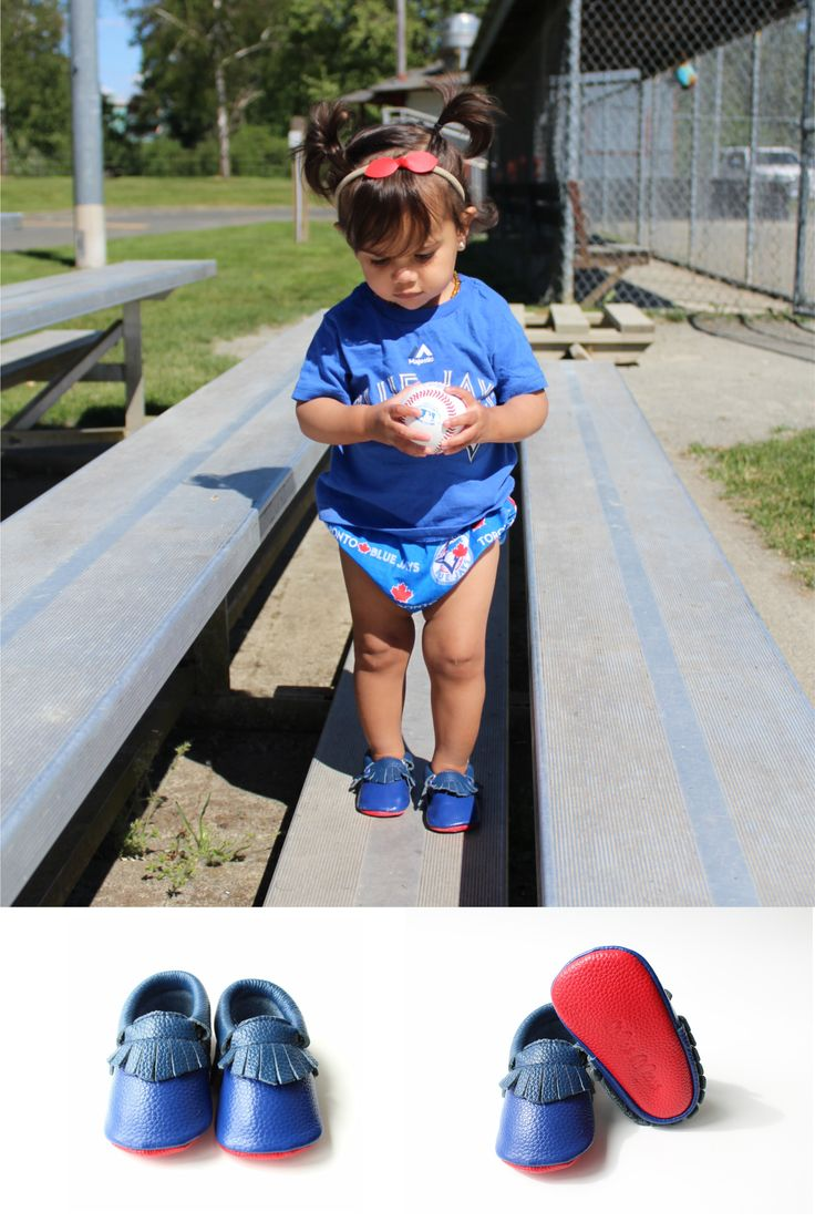 Look at the detail of our Blue Jay moccs! They feature the Toronto Blue Jay royal and navy blues, and red for the Canadian Flag! Available for a limited time only.