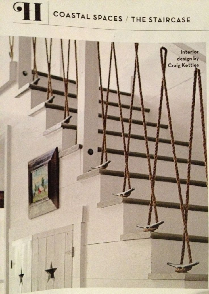 Nothing says nautical like ropes, especially when they're tied in this way to create a beautiful balustrade.