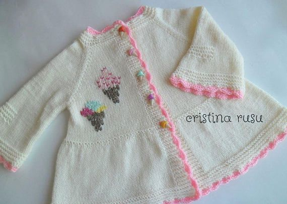Knitted  baby jacket with hand embroidery  and ice cream