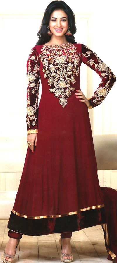 Georgette Red Color Anarkali Embroidered with Golden Chandla, Resham and Highlighted with White Pearl. This comes with a beautiful Chiffon Dupatta .
