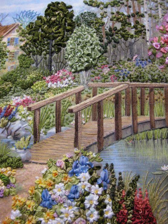 bridge over creek embroidered scene