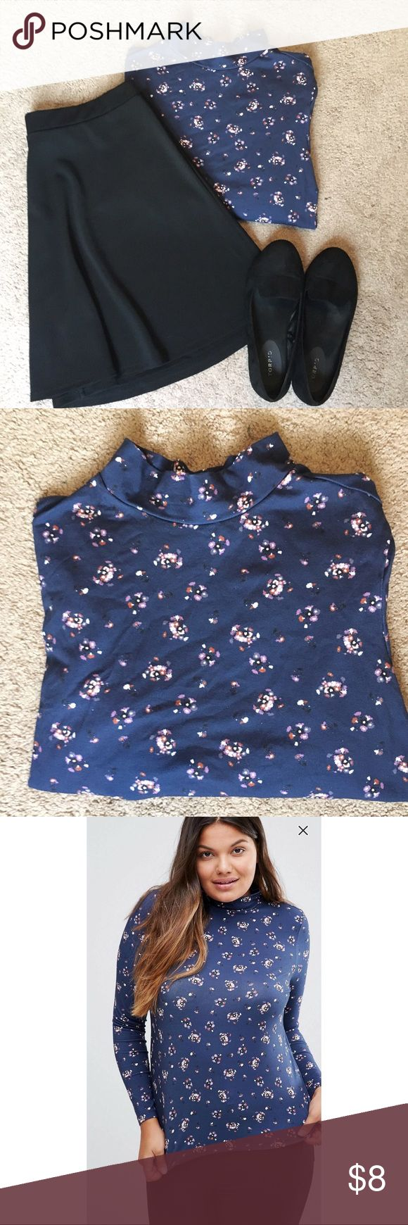 ASOS Curve High Neck Flower Print Top Size 20 This top was a little too snug in the chest area but I wish it fit!! Never been worn except to try it on. It's super cute and light weight, good for summer evenings. Looks adorable paired with a black skirt and some flats. Size 20 OFFERS WELCOME!! ASOS Curve Tops