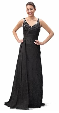 Black Strap Semi Formal Dinner Dress V Neck (Size S to 3XL-3 Colors)