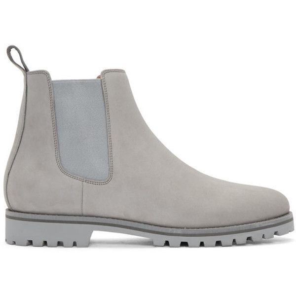 ETQ Amsterdam Grey Chelsea Boots ($315) ❤ liked on Polyvore featuring men's fashion, men's shoes, men's boots, grey, mens round toe cowboy boots, mens grey boots, mens gray boots, mens grey chelsea boots and mens nubuck shoes