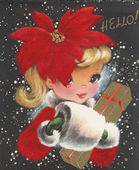 Love the sweetly doe-eyed little Christmas gal on this charming 1950s holiday card. I LOVE Vintage art.: