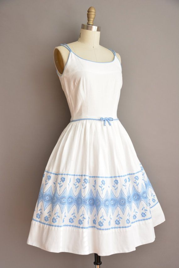 50s Toni Todd white cotton full skirt vintage by simplicityisbliss