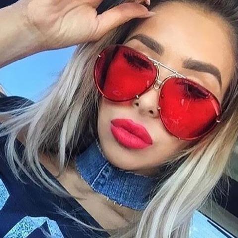 3083c2ecedc1 Fashion Round Oversized Sunglasses Men Women Brand Designer Shades Sun  Glasses UV400 Male Female Transparent aviation Eyeglasses
