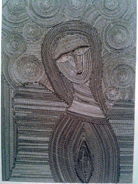 Ikona z kartonu 10 - 1; #sztuka #art #cardboard #zkartonu