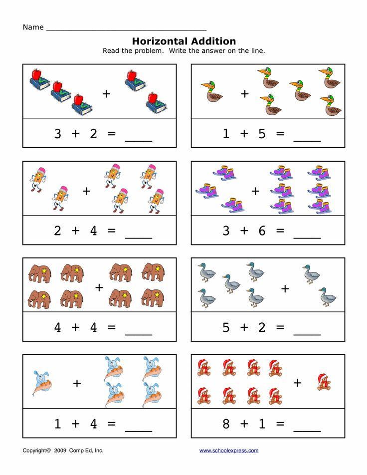12 best horizontal addition images on pinterest math addition preschool and free worksheets. Black Bedroom Furniture Sets. Home Design Ideas