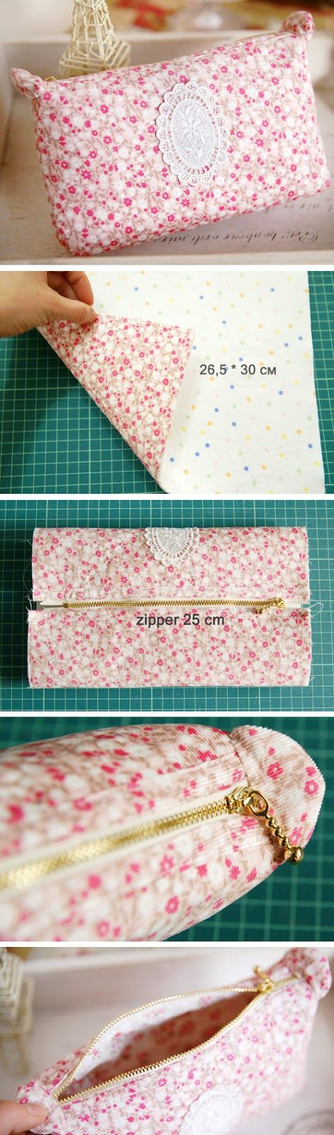 Tutorial: How to Sew a Cosmetic Bag   http://www.handmadiya.com/2016/02/make-up-bag-tutorial.html