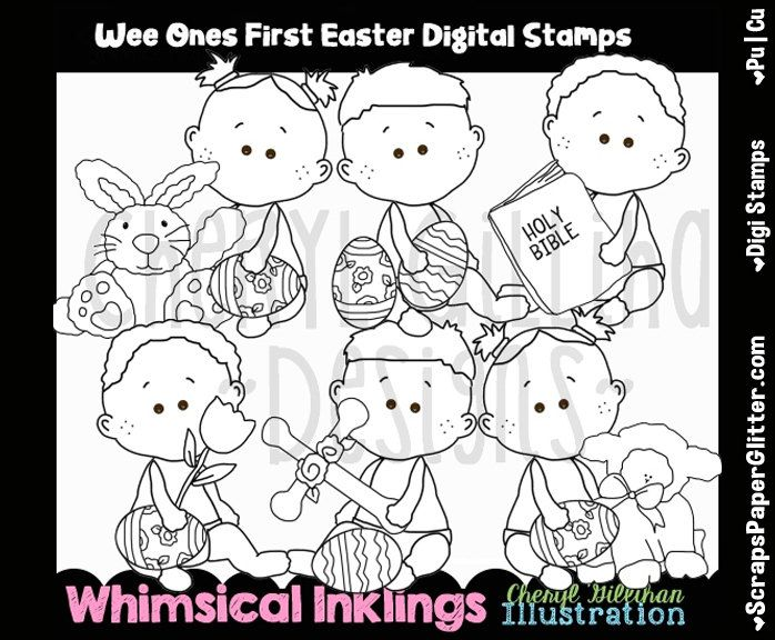 Wee Ones First Easter Digital Stamps, Black and White Image, Commercial Use, Instant Download, Line Art, Toddler, Baby, Easter Egg Hunt by ResellerClipArt on Etsy