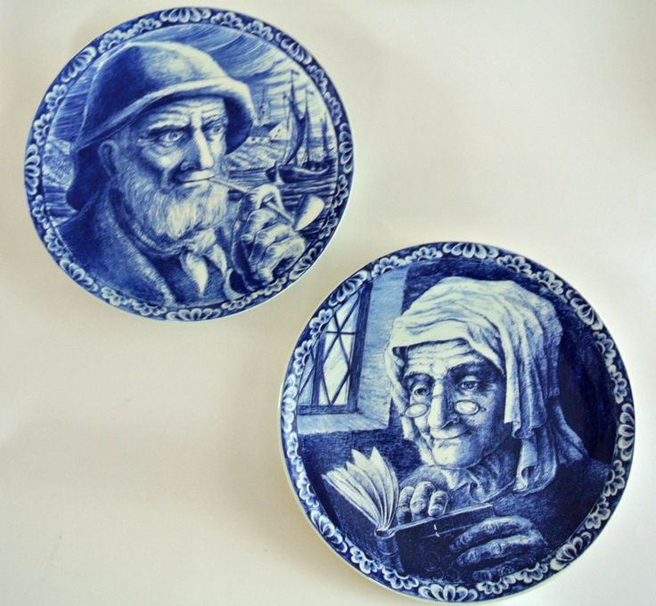 Pair of Delft Plates-Bach Freres LaLouvierre Belgium-Blue & White Decorator Plates-Vintage-Fisherman and Wife by LongTallSallys on Etsy