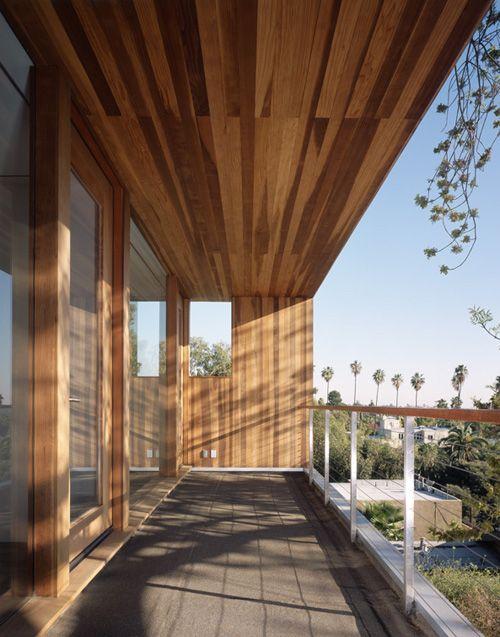 horizontal slat wood railing modern - Google Search