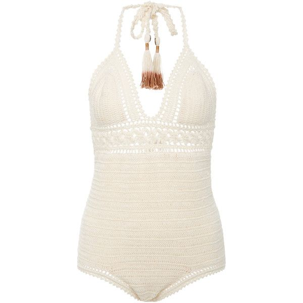 She Made Me Intricate Flower Crocheted Swimsuit ($250) ❤ liked on Polyvore featuring swimwear, one-piece swimsuits, swim, neutral, crochet swimsuit, crochet one piece swimsuit, swim wear, she made me bathing suits and she made me swimwear