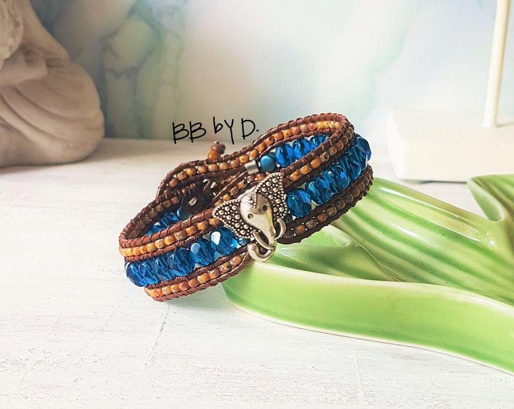 Bracelet wrap en cuir femme, thème éléphant, bleu, brun picasso. Manchette en perles style bohème. Bracelet en cuir et perles de verre