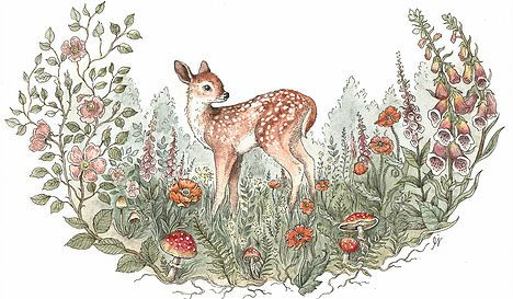 Meadow and Fawn. Illustrations. Animals. Crafts. DIY. Handmade. Creatures. Carvings. Wood. Sculptures. Glass. Forest. Owl. Fox. Bunny. Deer. Hedgehog. Mushroom. Flowers. Floral. Sweet. Rabbits. Bunnies. Adorable. Cute. Necklace. Jewelry. Painting. Art. Autumn. www.meadowandfawn.com
