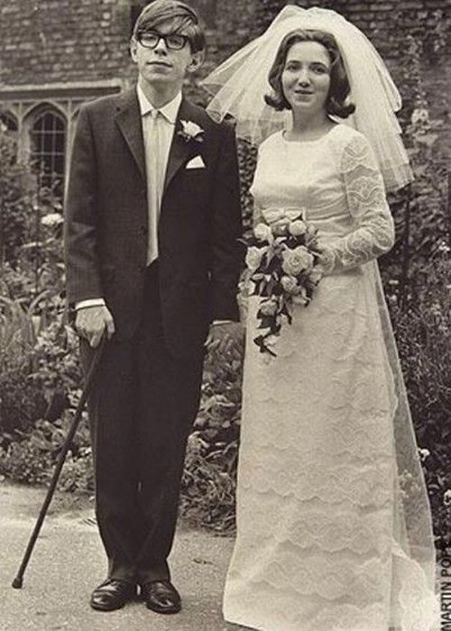 Stephen Hawking on his wedding day. Celebrate your wedding with jewels from Renaissance Fine Jewelry in Vermont or www.vermontjewel.com