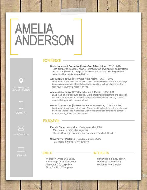 Mac Compatible - Yellow Bracket Resume + Cover Letter Template (Word Doc)
